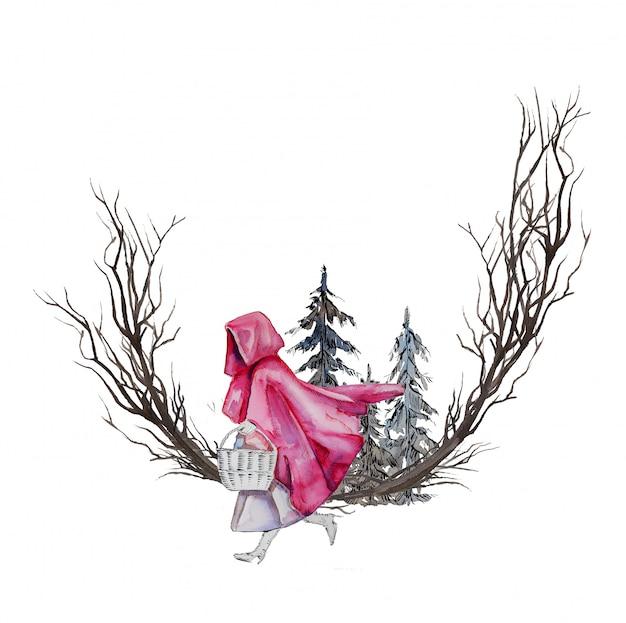 수채화 손으로 그린 작은 빨간 승마 후드와 늑대 프레임 흰색에 격리. 이야기 그림. 동화 관련 디자인.