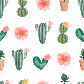 Watercolor hand painted pattern of tropical cactus and succulents in the pot.