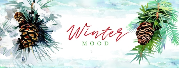 Watercolor hand painted pine cones with text winter mood