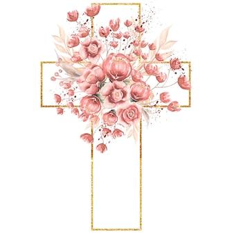 수채화 손으로 그린 핑크 florals 크로스 클립 아트, 부활절 종교 꽃 그림
