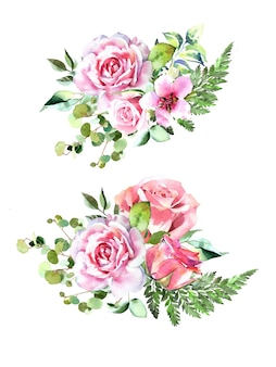 水彩の手描きのピンクのバラ、ユーカリ、シダの花束のデザインセットは、白い背景で隔離。