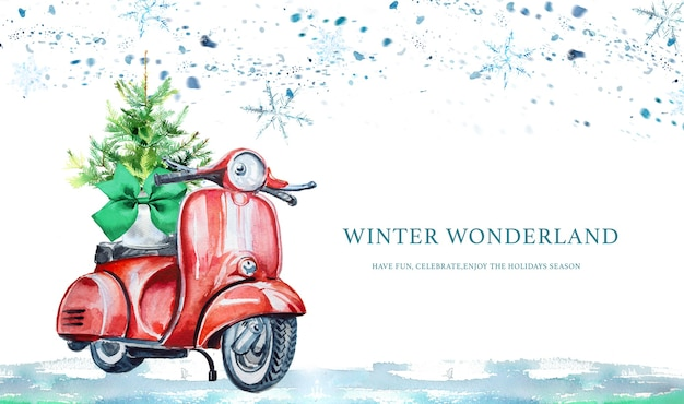 Watercolor hand painted scooter with christmas tree banner.