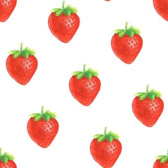 수채화 손으로 흰색 바탕에 전체 빨간 딸기와 완벽 한 패턴을 그렸다.