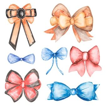 Watercolor hand painted silk ribbon bows illustration