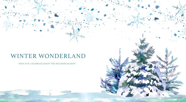 Watercolor hand painted snowy forest banner.