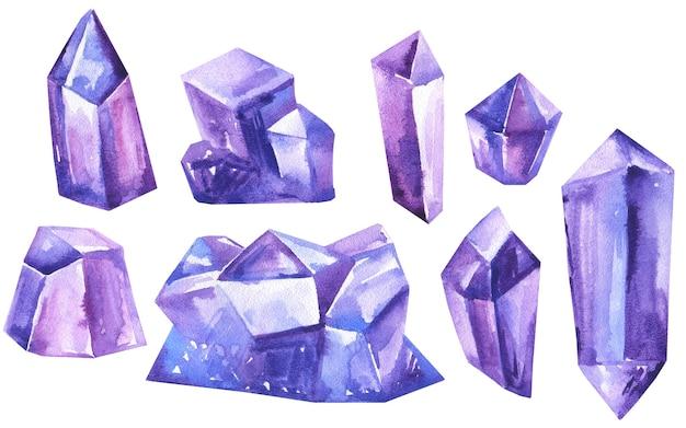 白で隔離の水彩画の手描きの柔らかなトレンディな古典的な青と紫の結晶と宝石のセット