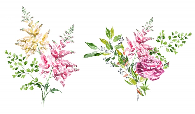 Watercolor hand painted spring flower bouquets clipart set.