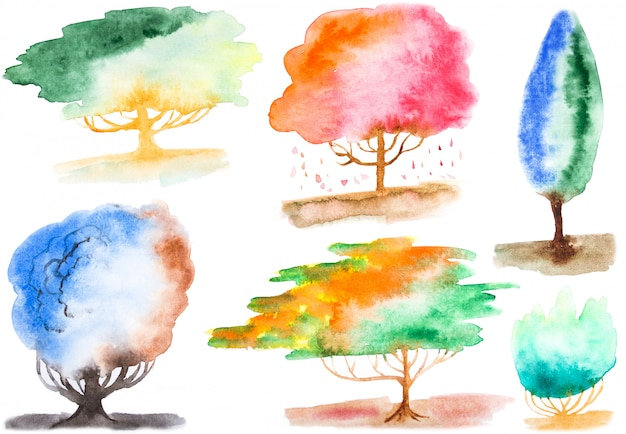 Watercolor hand painted tree shape elements