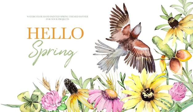 水彩手描きヴィンテージフィールド花と鳥の背景イラスト