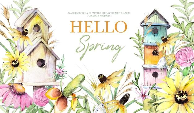 水彩手描きヴィンテージフィールド花と鳥の家の背景イラスト