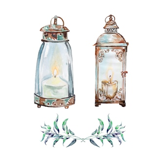Watercolor hand painted vintage lantern. retro light