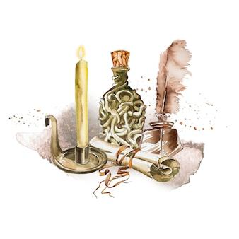 Акварель раскрашенная вручную старинная бутылка зелья, свеча и письмо, изолированные на белом фоне. иллюстрация мастера. антикварные принадлежности.