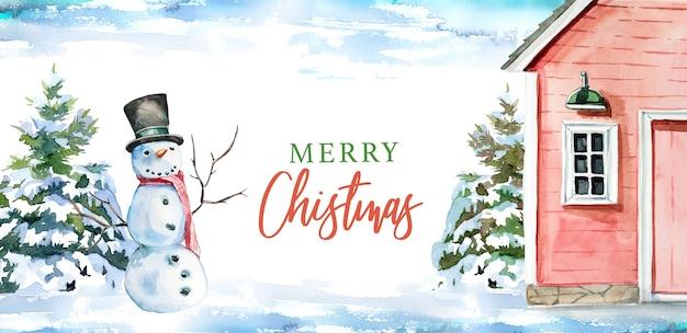 水彩の手描きの冬の納屋と雪だるまのイラスト。メリークリスマス