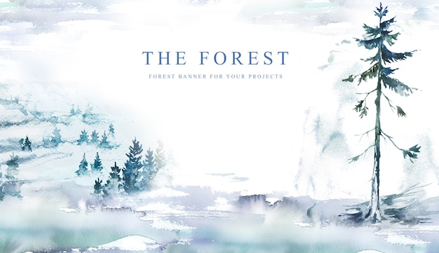 Watercolor hand painted winter forest  banner design.