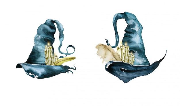 水彩の手描きのキャンドルとウィッチハット。ウィザードの図。ハロウィーンのデザイン。