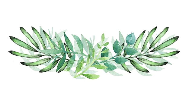 흰색에 녹색 잎으로 그린 수채화 손