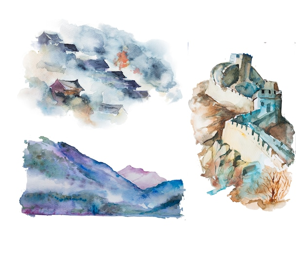 Watercolor handpainted asian landscape illustrations. eastern clipart set.