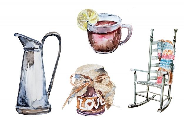 水彩の手描き秋のクリップアートセット。レモン、自家製ジャムと格子縞、熱いお茶が付いている椅子のイラスト