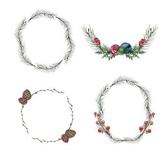 水彩の手描きのクリスマスのモミの枝と分離された装飾花輪。クリスマステーマのクリップアートセット。