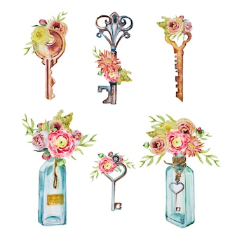 Watercolor handpainted keys and bottles with bouquets clipart set isolated. vintage keys design elements.