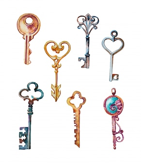 Watercolor handpainted keys and locks clipart set isolated. vintage keys design elements.