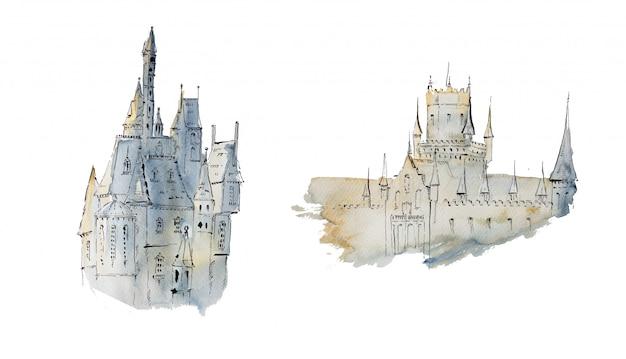 Watercolor handpainted medieval castles.
