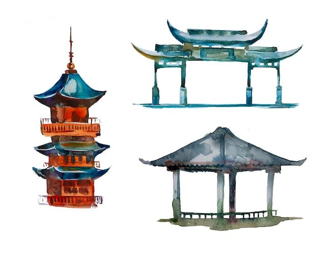 水彩の手描きのパゴダクリップアートセット分離。アジア建築設計図。