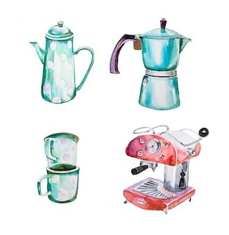 水彩の手描きのレトロなクリップアートセット。レトロなコーヒーポット、ビンテージカップ、レトロなコーヒーマシンのイラストが分離されました。