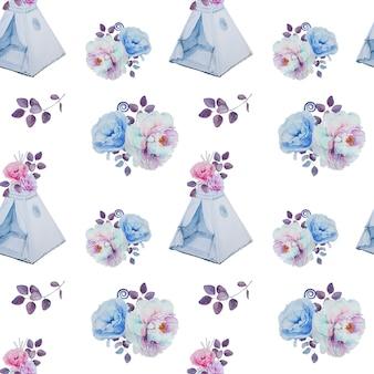 水彩の手描きのティーピーと花の花束のパターン。子供部屋の装飾のシームレスパターン。ハンは子供用テントとフラワーアレンジメントを描きました。