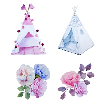 Watercolor handpainted teepees and flower bouquets. children room decorations. han drawn kids tent and flower arrangement.