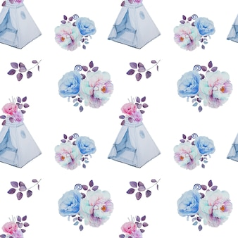 Watercolor handpainted teepees and flower bouquets pattern. children room decorations seamless pattern. han drawn kids tent and flower arrangement.