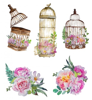 Watercolor handpainted vintage birdcages with flower bouquets.