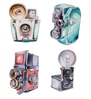 Watercolor handpainted vintage cameras.