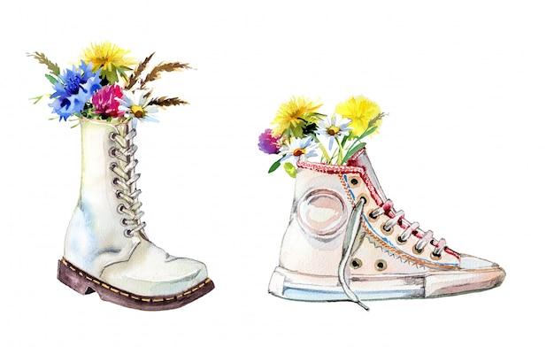 白い壁に分離された野の花の花束と水彩の手描きの軍隊のブーツ。手描きのブーツと花のクリップアートセット。春のデザイン。
