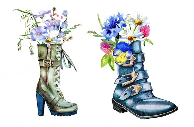 白い壁に分離された野の花の花束と水彩の手書きのブーツ。手描きのブーツと花のクリップアートセット。春のデザイン。