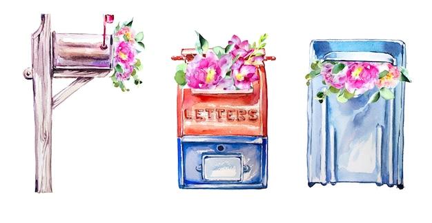 Акварель рукописный почтовый ящик с цветами иллюстрации, изолированные на белой стене.