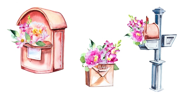 Watercolor handprinted letterbox with flowers illustration isolated on a white wall.
