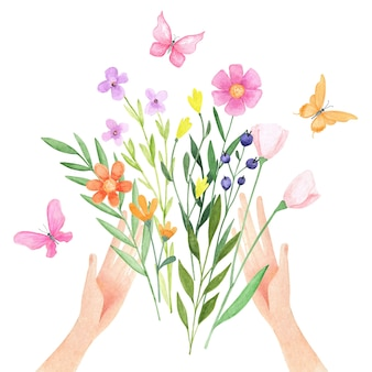 Watercolor hands with flowers. png clipart