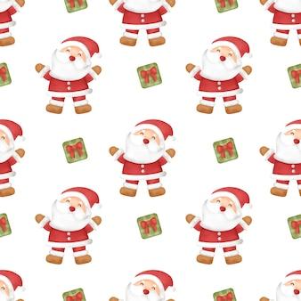 수채화 행복 한 크리스마스 날 완벽 한 패턴입니다.