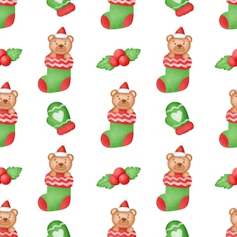 Watercolor happy christmas seamless patterns .