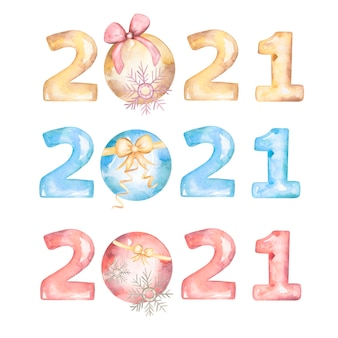 Watercolor happy new year 2021 greeting postcard, poster or invitation.