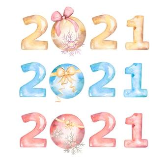 수채화 행복 한 새 해 2021 인사말 엽서, 포스터 또는 초대장.