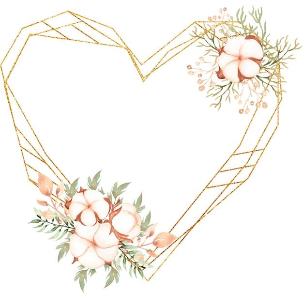 Акварельная сердечная рамка с хлопковым букетом и цветочным венком