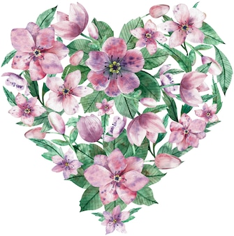 Watercolor heart made of pink spring flowers and green leaves