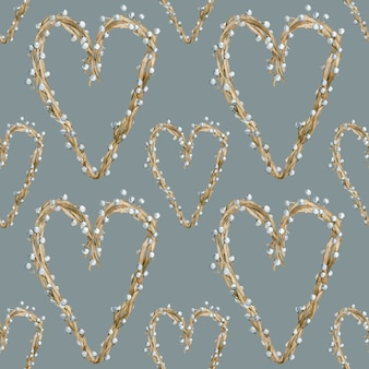 Watercolor heart pattern made of tree branches with berries or pearls. valentine's day and mother's day background design. hand-drawn illustration