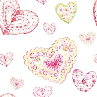 Акварель сердце узор на белом фоне. сердечки красных оттенков