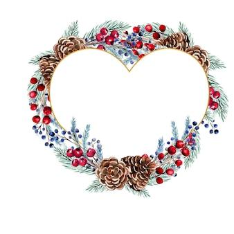 Акварельная рамка в форме сердца с ягодами, еловыми шишками, еловыми ветками.
