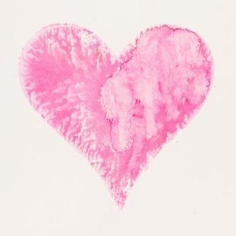 水彩画のハート。バレンタインデーグレートカード、愛、関係、アート、絵画。