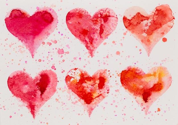 水彩心。バレンタインデーグレートカード、愛、関係、芸術、絵画。