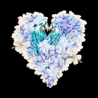 オウムとアジサイの花と水彩の心